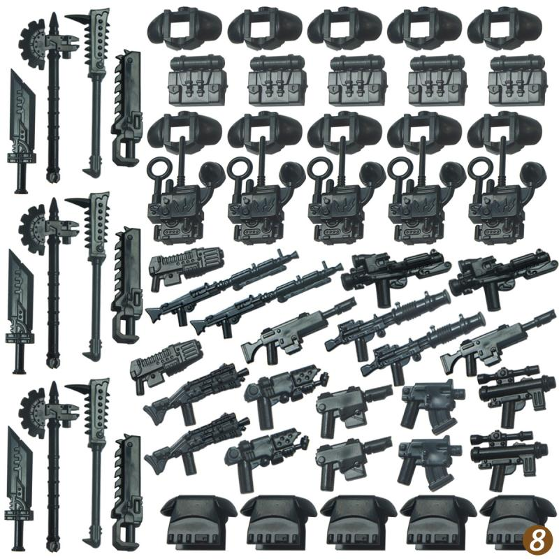 10pcs Legoing Military SWAT Police Gun Weapons  Army Soldiers Medieval Helmet   Shield  Building Blocks MOC Arms   For Children
