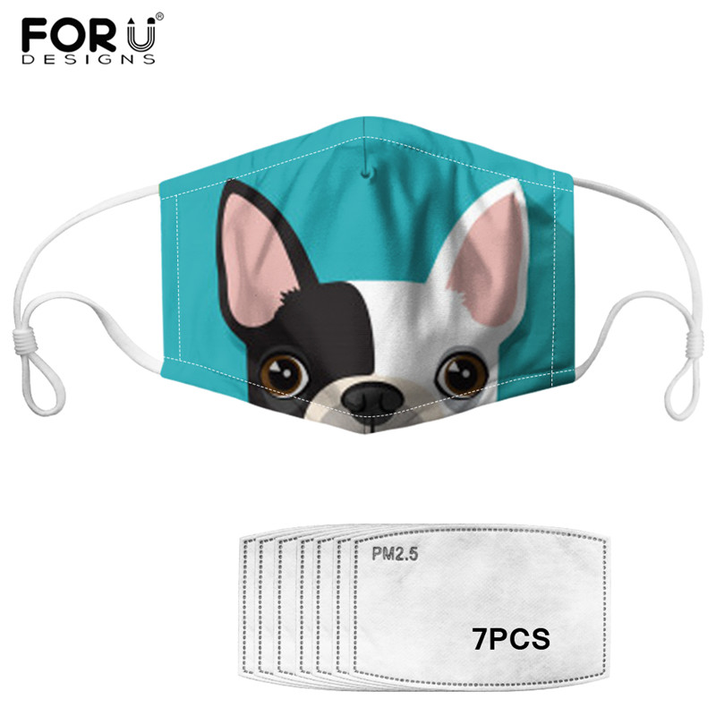 Lovely French Bulldog Print Windproof Mouth-muffle Anti Dust Outdoor PM2.5 Face/Mouth Masks Multi Color Animal Pet Cotton Mask