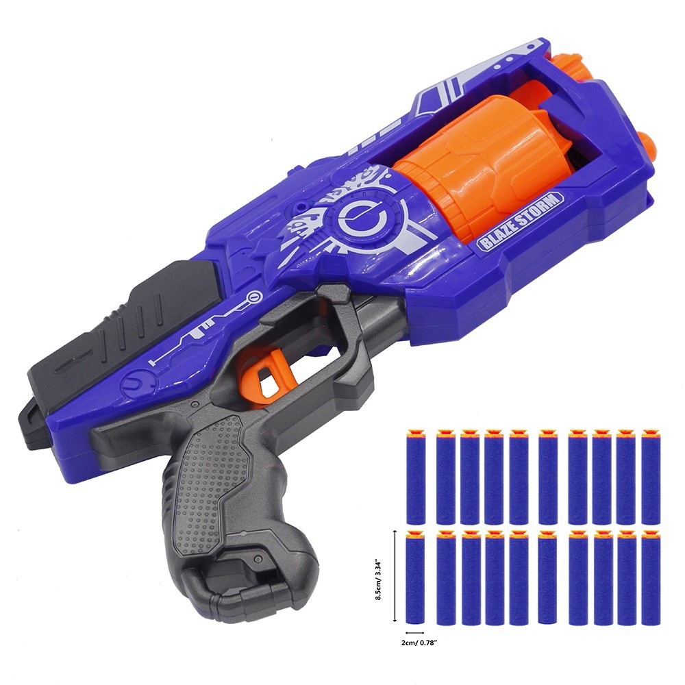 Rotate Barrel Manual Soft Bullet Blaster Gun Suit With 20pcs Bullets For Nerf Hand Gun Toys For 6 7 8 9 10 Year Old Boys