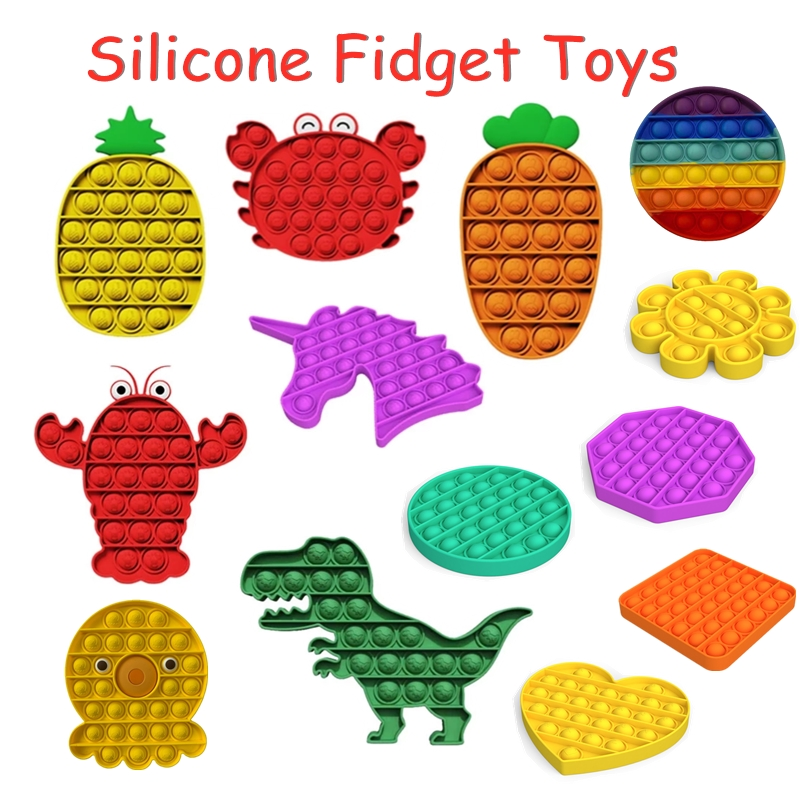 Hot Silicone Push Popit Bubble Fidget Antistress Toys Adult Kids Autism Anti-stress Reliever It Fidget Sensory Squeeze Toy