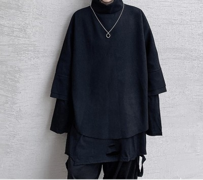 Autumn and winter original dark series of simple seven-sleeve short paragraph loose stand-collar fabric Japanese fashion