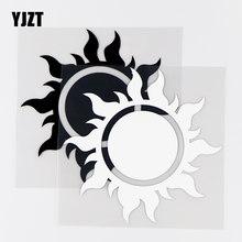 YJZT – autocollants en vinyle de voiture, 13.5x13.5CM, noir/argent, brillant, soleil et feu comme un rayon de feu, personnalité, 10A-0433