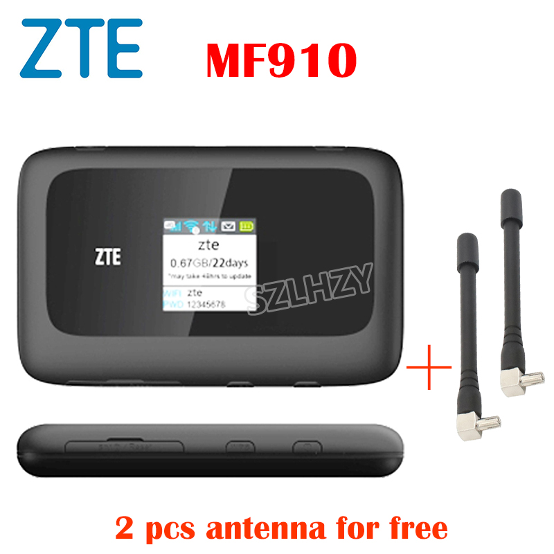 Used 4G Router ZTE Unlocked MF910 MF90 Mobile Hotspot Pocket Wifi +2pcs Antenna SIM Card Slot 2300mAh Battery PK Huawei E5573