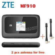 Usado 4g roteador zte desbloqueado mf910 móvel hotspot bolso wifi + 2pcs antena sim slot para cartão 2300mah bateria pk huawei e5573