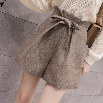 2019 Autumn Winter New Women Wool Shorts Korean Chic Lace-Up High Waist Wide Leg Shorts Ladies Elegant Woolen Shorts 1