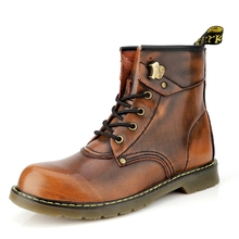 New products men's shoes bright color boots large size shoes classic tough men men's leather boots cowhide high-top tooling boot