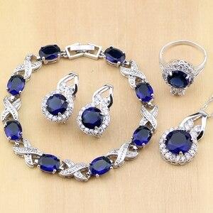 Image 1 - 925 Zilveren Sieraden Blauwe Zirconia Sieraden Witte Zirkonia Vrouwen Oorbel Hanger Ketting Ringen Armband Partij Sieraden Sets