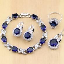 925 الفضة والمجوهرات الأزرق زركون مجوهرات الأبيض الزركون أقراط نسائية قلادة قلادة خواتم سوار مجموعات مجوهرات حفلات