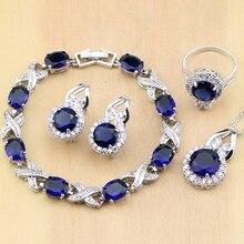 Joyería de plata 925, joyería de circonia cúbica azul, pendiente de mujer de circón blanco, colgante, collar, anillos, pulsera, conjuntos de joyería para fiesta