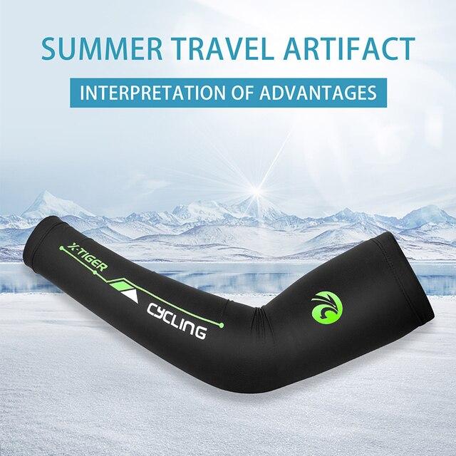 X-TIGER protetor solar ciclismo braço aquecedores de gelo tecido secagem rápida ciclismo braço mangas ao ar livre esportes cotovelo almofada correndo braço cobre 2