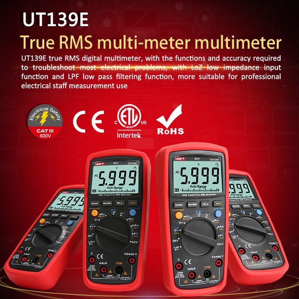 Купить с кэшбэком UT139E True RMS Digital Multimeter Temperature Probe LPF pass filter LoZ LoZ (low impedance input) function/Temperature test EB