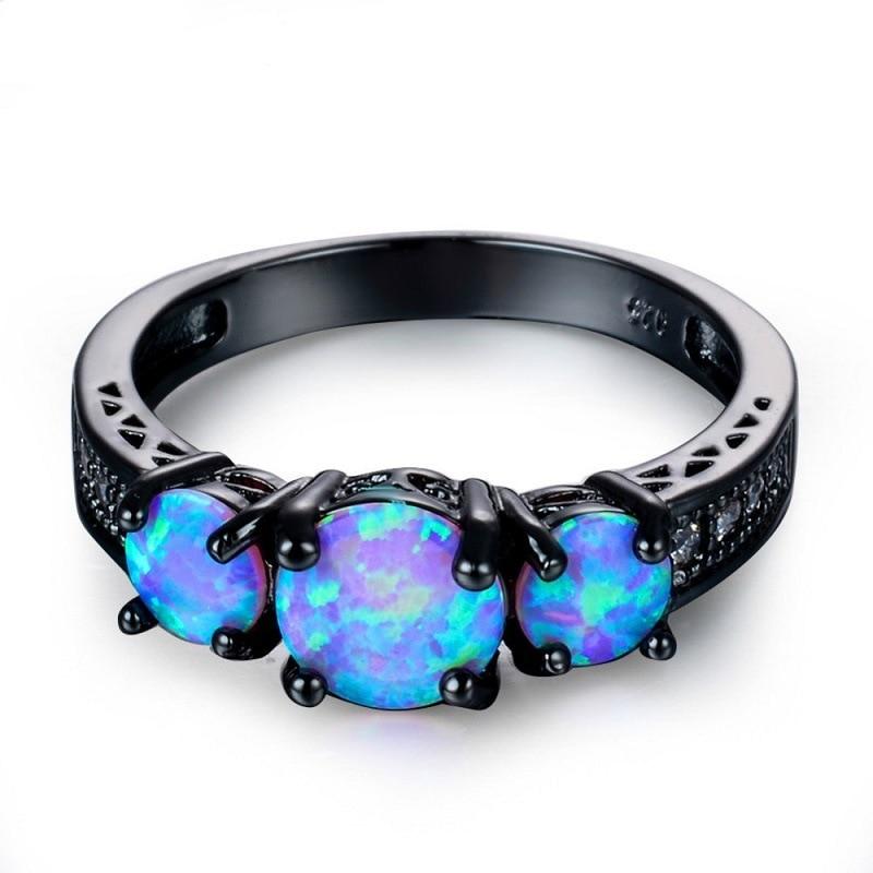 Блестящее черное кольцо с опалом и кристаллами, модное обручальное кольцо Стразы для свадьбы, женское ювелирное изделие, подарок на день Св...
