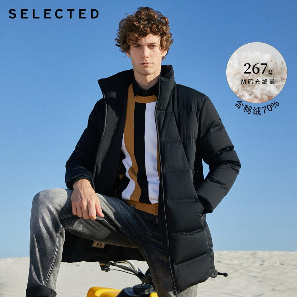 SELECTED Men's Winter Down Jacket Medium Style Stand-up Collar Down Clothes Warm Coat S|418412517