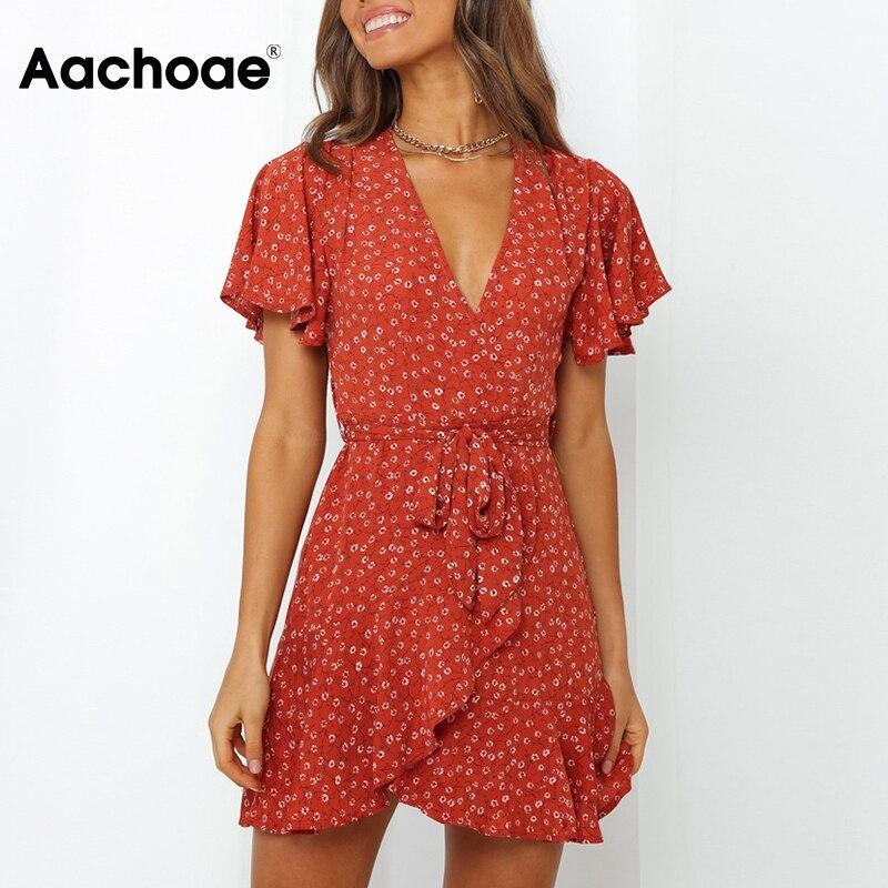 Aachoae Summer Women Floral Print Ruffle Mini Dresses 2020 Boho V Neck Wrap Dress Casual Short Sleeve Beach Sundress Vestidos