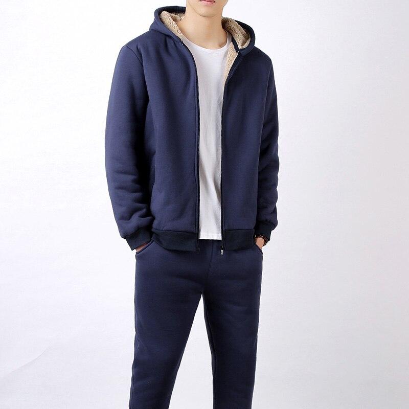 Winter Men Sweat Suits Fleece Warm Mens Tracksuit Set Casual Sportwear suits jacket + pants Thick Slim Fit Sets