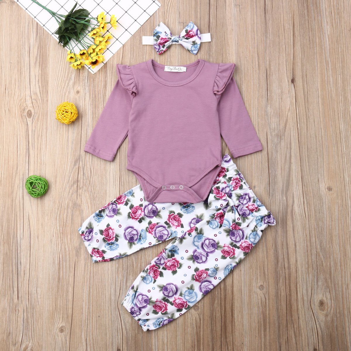 Pudcoco Newborn Baby Girl Clothes Fly Sleeve Cotton Romper Tops Flower Print Long Pants Headband 3Pcs Outfits Clothes