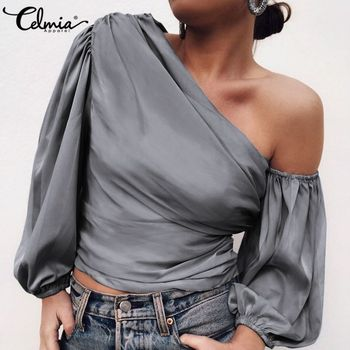 Celmia Fashion Satin Blouse Women Off Shoulder Sexy Shirts 2020 Summer Asymmetrical Tops Casual Solid Elegant Pleated Blusas 5XL fashion summer womens blouse long lantern sleeve solid casual shirt celmia ladies cold shoulder sexy tops irregular blusas mujer