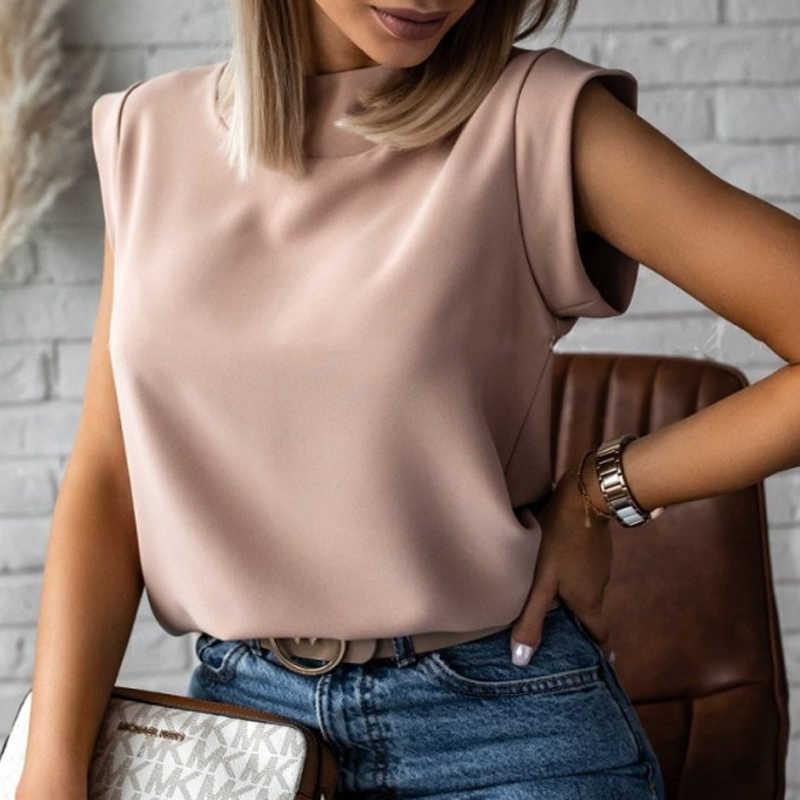 Élégant rouge lèvres imprimé chemises Blouse femmes O cou à manches courtes Tops basiques été décontracté femme pull chemise Blusa Streetwear