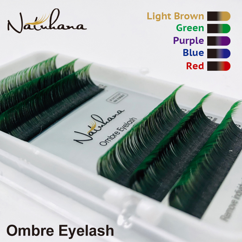 NATUHANA 6Rows Ombre Color Eyelash Extension Individual Faux Mink Lash False Gradients Eyelashes Professional Salon Makeup Tools