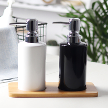 China Ceramic 3 pcs White Black Soap Dispenser for Kitchen with Wood Tray  Bathroom Home Decoration Hand Sanitizer Bottle Cup