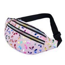 2020 impresso saco da cintura feminina fanny pacote colorido meninas saco de viagem crianças dos desenhos animados cinto festival bolsa do telefone móvel