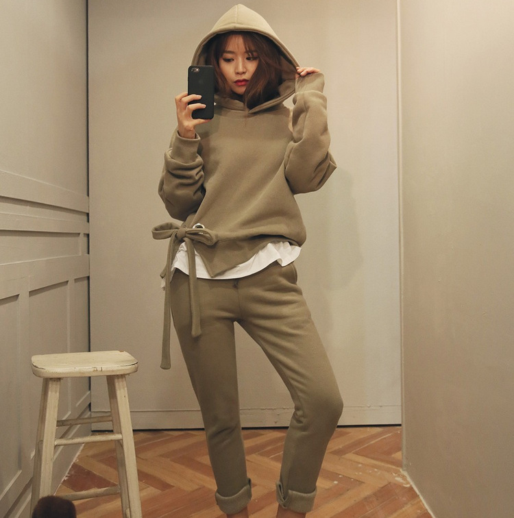 2019 New Style Casual WOMEN'S Suit Autumn Solid Color Hoodie Trousers Two-Piece Set Fashion Casual WOMEN'S Suit