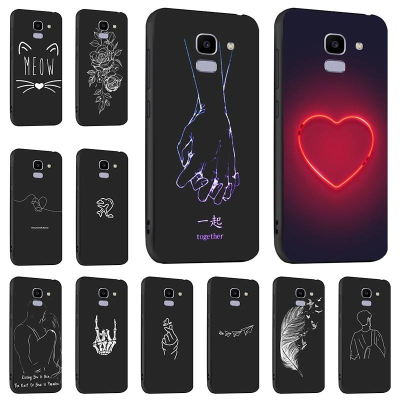 Capinha para samsung galaxy j4 j6 plus 2018 casos de silicone moda preto caso para samsung a7 2018 j6 j4 j8 2018 capa pára-choques