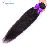 Sapphire Peruvian Kinky Straight Hair Bundles Human Hair Bundles Non Remy Human Hair Extensions 1 Piece Double Weft