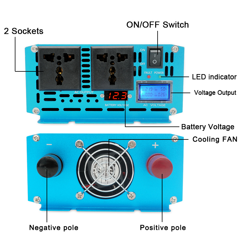 Hee9c3be0f9a043f8bae4caea869856c3v - DC 12V/24V To AC110V/220V 3000W Pure sine wave inverter off grid Converter Voltage Transformer With LCD Display 2 AC OUT