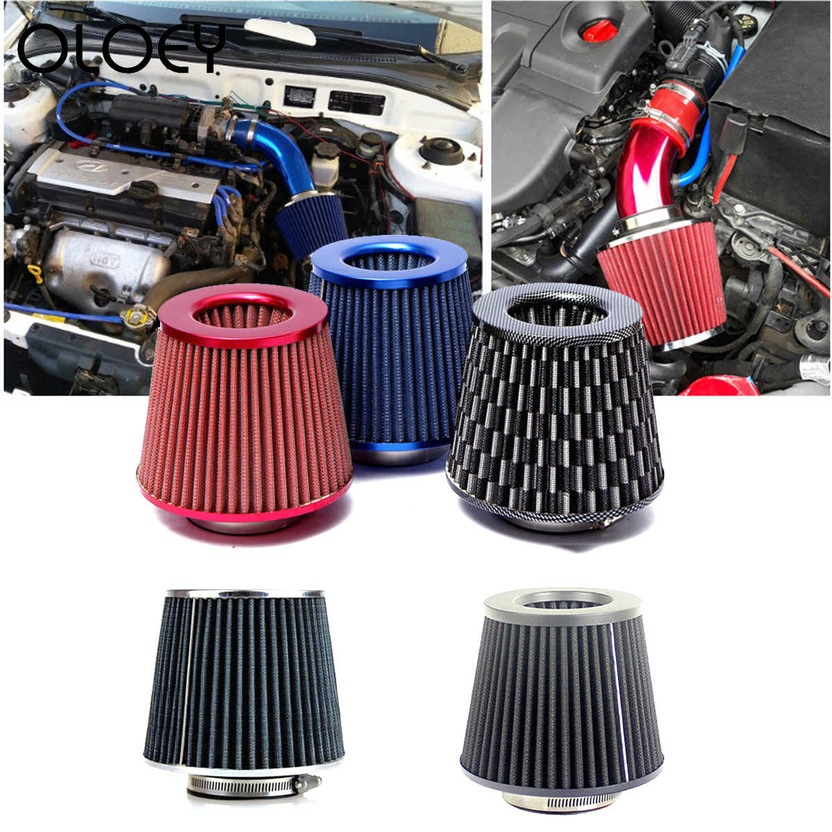 Universal Air filter 76mm 3 Inch High Flow Auto Cold Air Intake Filter Aluminium Inductie Inductie Tuinslang paddestoel hoofd
