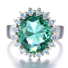 Big green crystal emerald gemstones Rings for women diamonds white gold silver 925 luxury jewelry bijoux party fashion accessory(China)