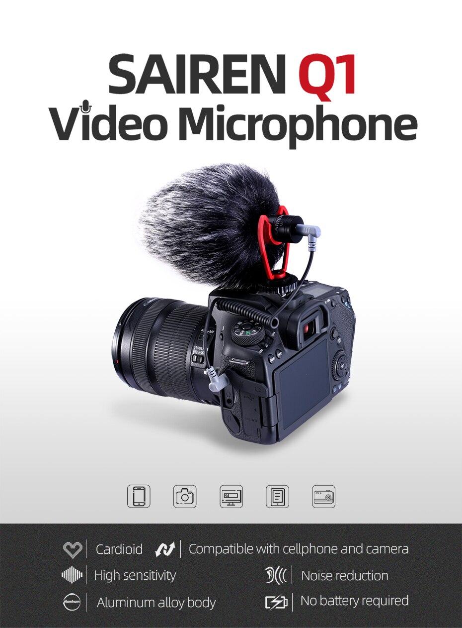 entrevista vlog mic para smartphone dslr câmera osmo bolso móvel 3 cardan