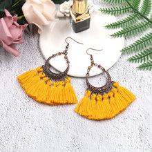 цена на Hollow Crescent Moon Tassel Earrings Bohemian Tassel Big Drop Earrings Boho Style Vintage Earrings for Women