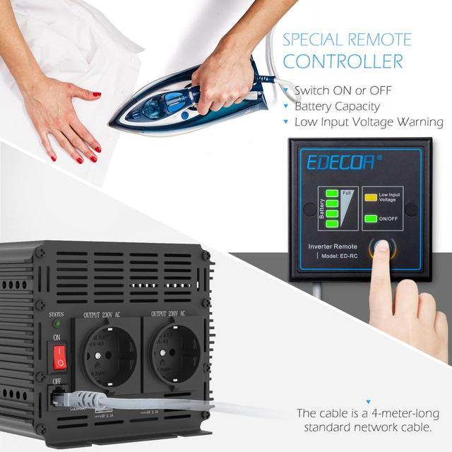 EDECOA modifizierte sinus welle inverter DC 24v AC 220v 3000W 6000W power inverter off grid mit fernbedienung USB ports 5V 2,1 A