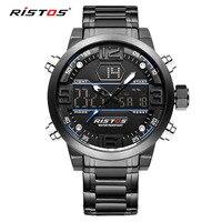 RISTOS Fashion Men Digital Quartz Watch Men's Outdoor Luxury Brand Waterproof Display LED Analog Wristwatches montre homme