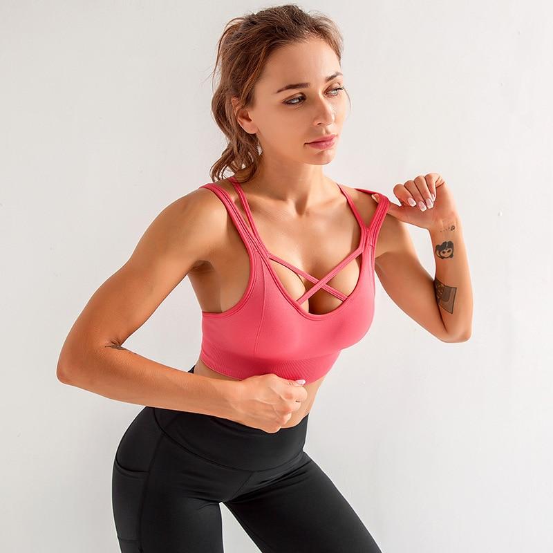 SALSPOR Yoga Sports Bra Women Back Cross Gathering Push Up Vest Bras Fitness Elastics Breathable Running training Underwear(China)