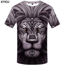 KYKU Brand Lion T shirt Men Animal Anime Clothes War Funny shirts King Shirt Print Harajuku Tshirt Printed Mens Clothing