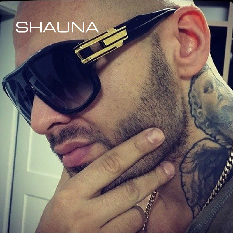 SHAUNA Retro Flat Top Men Sunglasses Persegi Pereka Jenama Fashion Wanita Gradien / Clear Lens Shades UV400