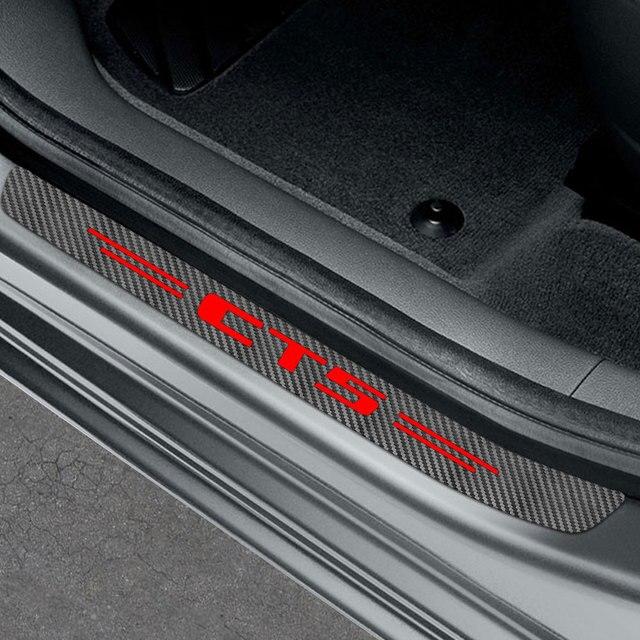 4PCS Car Door Sill Sticker For Cadillac ATS BLS CT4 CT5 CT6 CTS Escalade EXT SLR SLS SRX STS XLR XT4 XT5 XT6 XTS Accessories 4