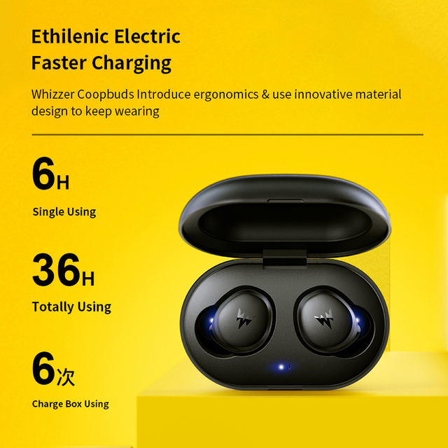 Whizzer APTX Bluetooth Earphone C3 TWS Wireless Earbuds with Qualcomm Chip, Volume Control, 36H Playtime Original Earbuds 2