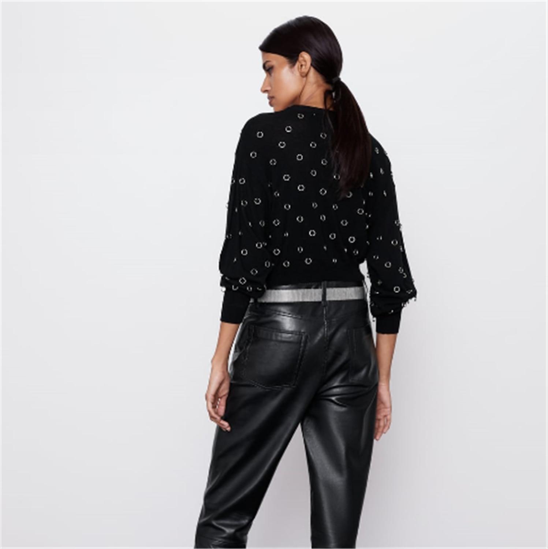 2019 za 여성 스웨터 패션 새로운 겨울 모조 진주 스웨터 보헤미안 여성 긴 소매 스탠드 칼라 스웨터 파티 선물