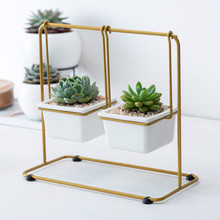 Nordic simple geometric wrought iron swing combination succulent platter ceramic flower pot iron frame set creative flower pot