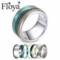 Floya rétro bague en anneaux déclaration couches en acier inoxydable bague de mariage Argent Femme Bijoux boîte cadeau pour les filles