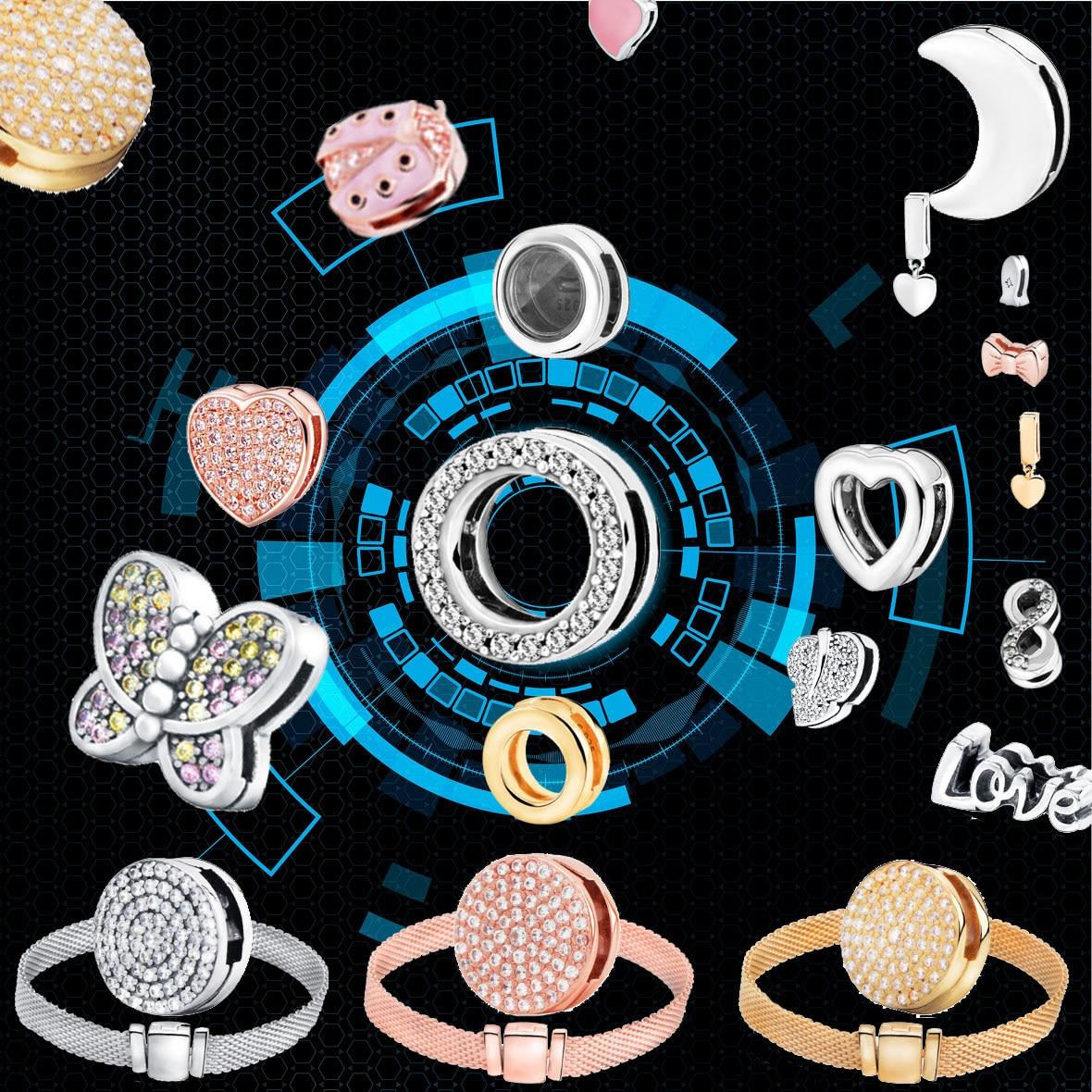 Fashion 925 Sterling Silver Beads Dazzling Round Clips Charms Fit Original Pandora Reflexions Bracelets Women DIY Jewelry