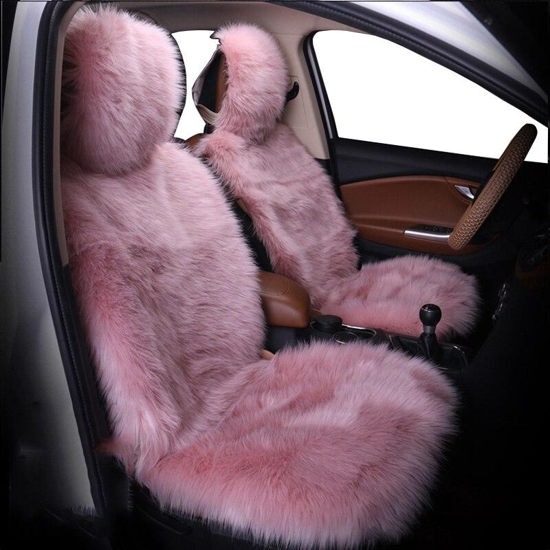 מושב מכונית כיסוי חורף קטיפה פרווה רכב מושב מגן מכסה מושב מכונית מכסה מתאים ביותר רכב, משאית, SUV, או ואן (ורוד)