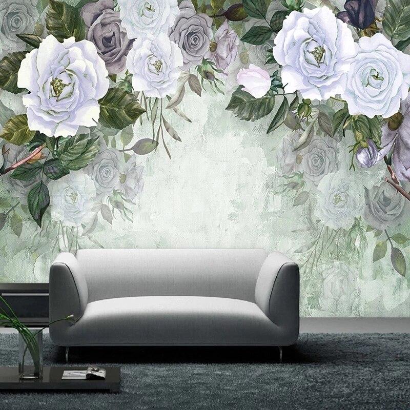 Самоклеящиеся 3D-обои ручной росписи в стиле ретро, настенные водонепроницаемые фрески с изображением роз для гостиной, спальни, романтичес...