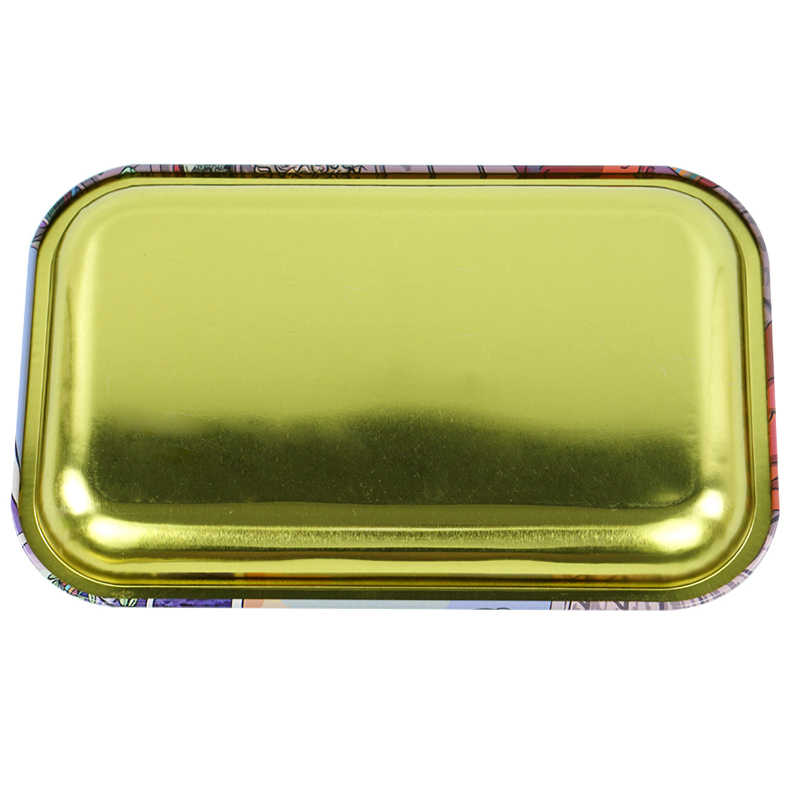 Metal Rolling Tray Tobacco Tray Essential Holder Tray Accessories Tricolor Leaves, Small