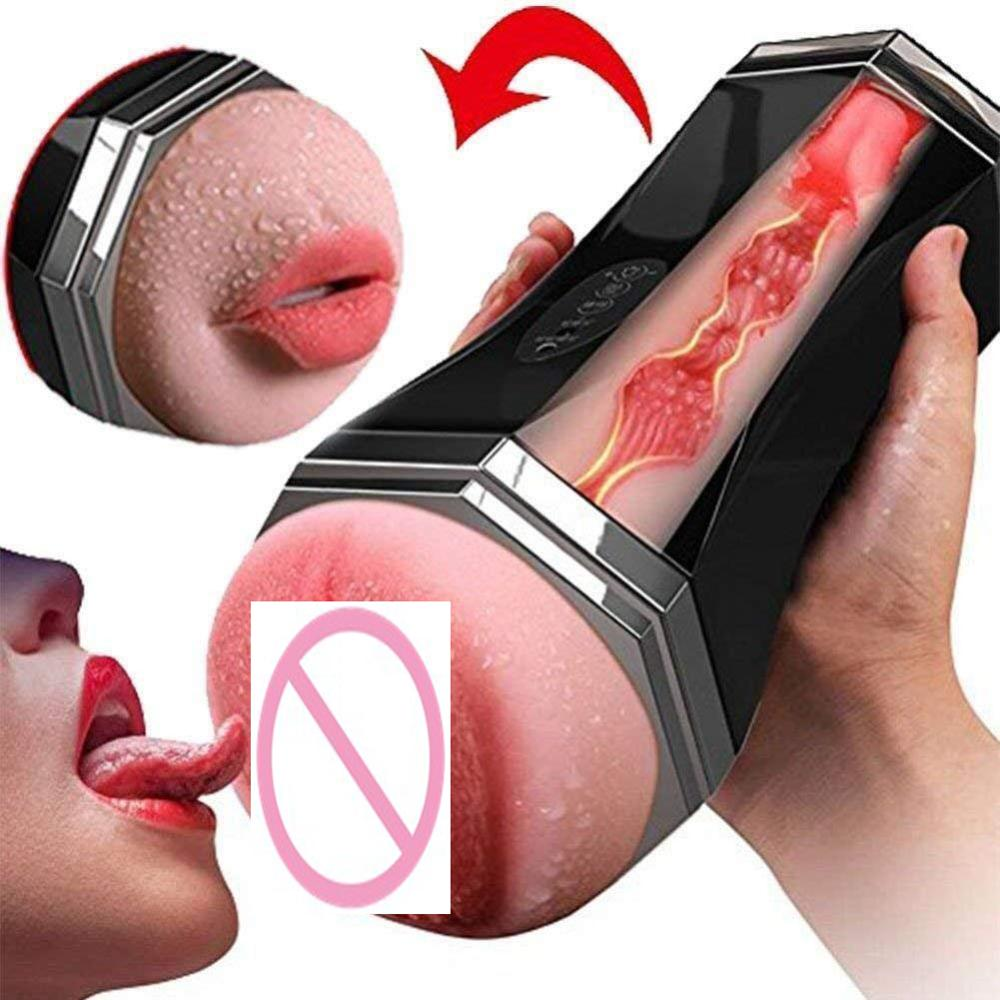 Double Hole Oral <font><b>3D</b></font> Deep Throat Artificial Vagina Male Masturbator Real Pussy Oral Vaginal <font><b>Sex</b></font> <font><b>Toys</b></font> for Men Masturbation Cup image