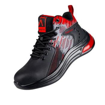 Buty męskie obuwie ochronne 2021 nowe buty obuwie robocze obuwie męskie lekkie odporne na uderzenia obuwie sportowe oddychające obuwie tanie i dobre opinie DEWBEST CN (pochodzenie) Mikroporowatej ANKLE NONE Mesh (Air mesh) Flat (≤1cm) Lace-Up Work Safety Mixed Colors Round Toe