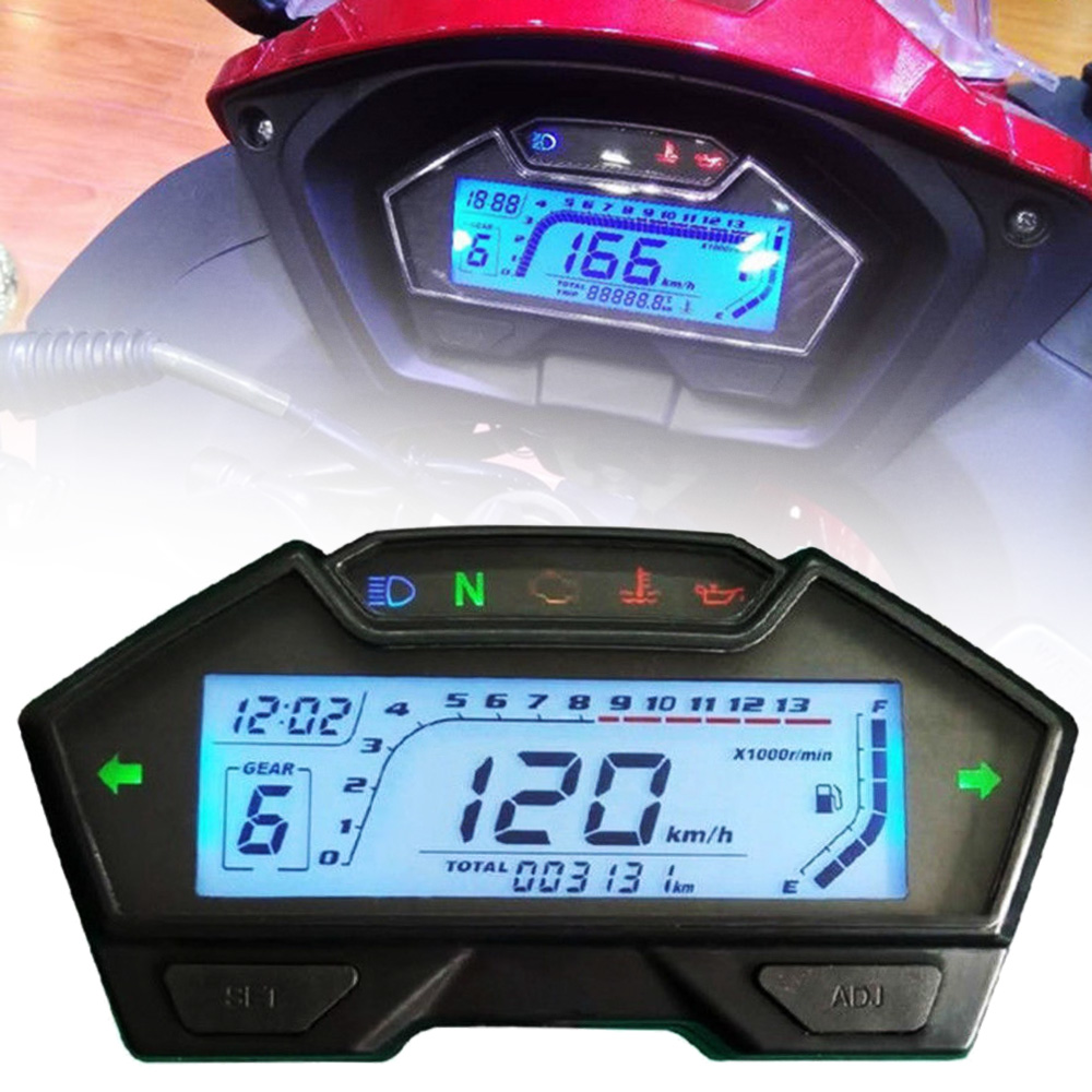 Universal Motorcycle Dashboard LCD Digital Speedometer Odometer Tachometer 12V 13000RPM Motorcycle Oil Meter Multifunction Gauge image